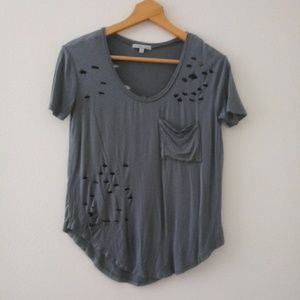 Charlotte Russe Distressed Short Seeve Pocket Tee